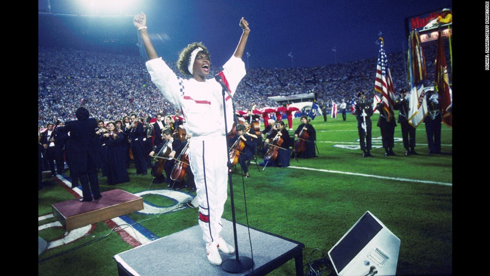 "But Whitney Houston hit the right notes at Super Bowl XXV in January 1991, stirring Americans' patriotic feelings during the Persian Gulf War. Her version of ""The Star-Spangled Banner"" reached the Billboard chart's Top 20 that year."