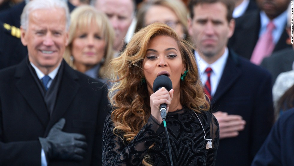 "Beyonce wowed the nation with <a href=""http://www.cnn.com/video/#/video/politics/2013/01/21/inaug2013-sot-beyonce-national-anthem.cnn "">a rendition</a> on Inauguration Day in January 2013. The singer later told reporters ""<a href=""http://www.cnn.com/2013/01/31/showbiz/beyonce-super-bowl"">she decided to sing along with my prerecorded track</a>,"" a decision she made in part because she didn't have time to rehearse with the U.S. Marine Band and had had ""no proper sound check."" But she wowed any doubters in her rehearsals and halftime show at the Super Bowl in February."