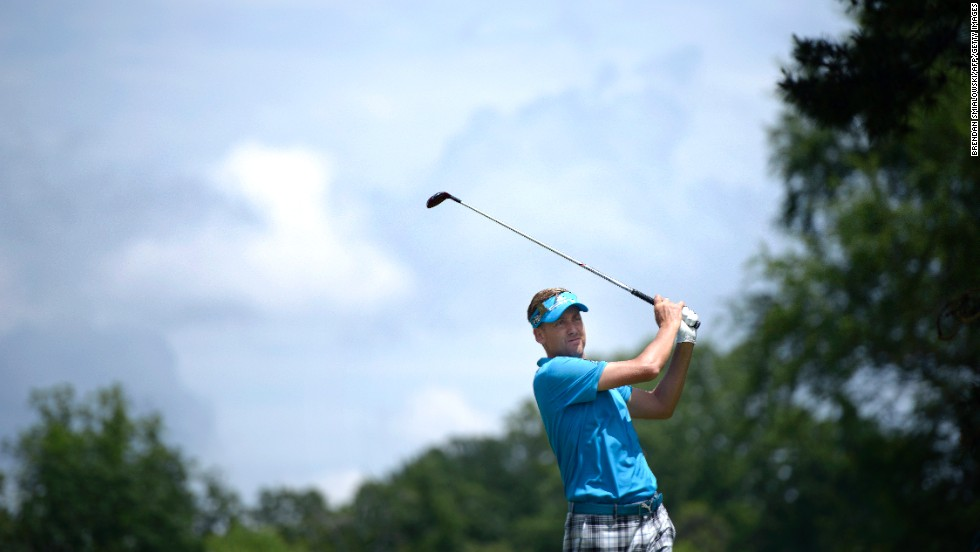 England's Ian Poulter tees off at the second hole during the first round on Thursday, June 13.