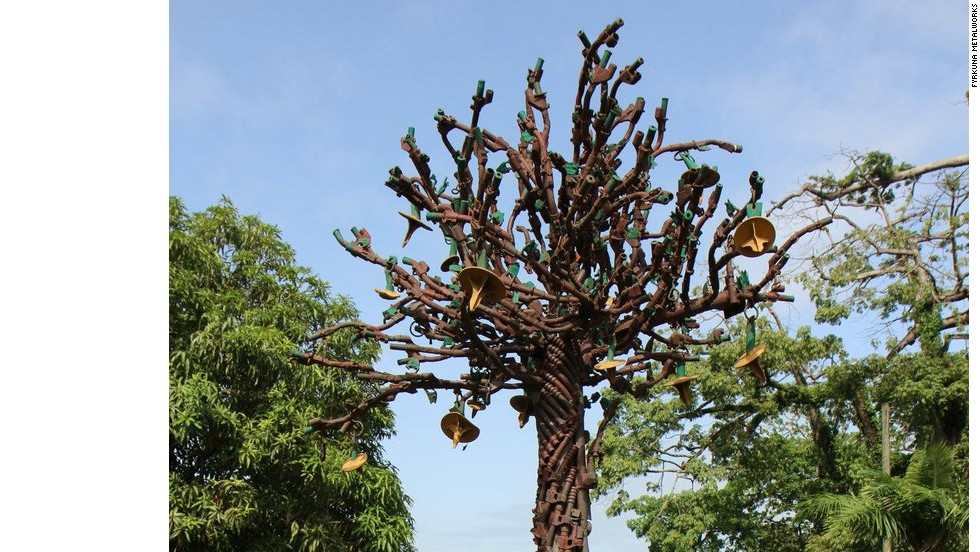 "Fyrkuna is also behind the ""Tree of Peace,"" a massive sculpture that's been on display in Monrovia's Providence Island since 2011."