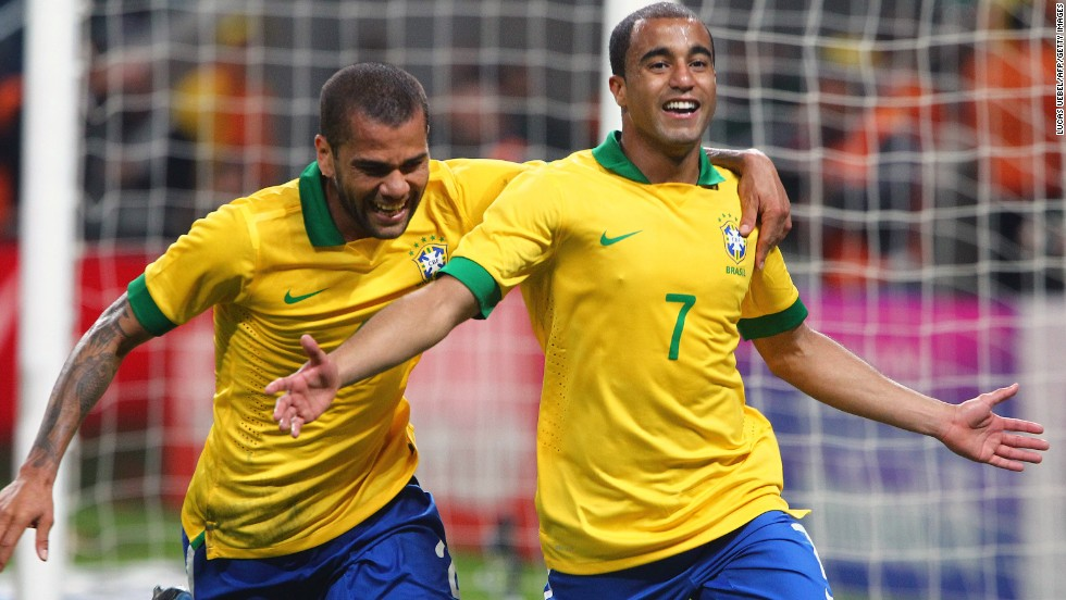 Brazil's most recent match, the last before the Confederations Cup starts, ended in a comfortable 3-0 defeat of France. A penalty from Lucas Moura, right, completed the scoring.
