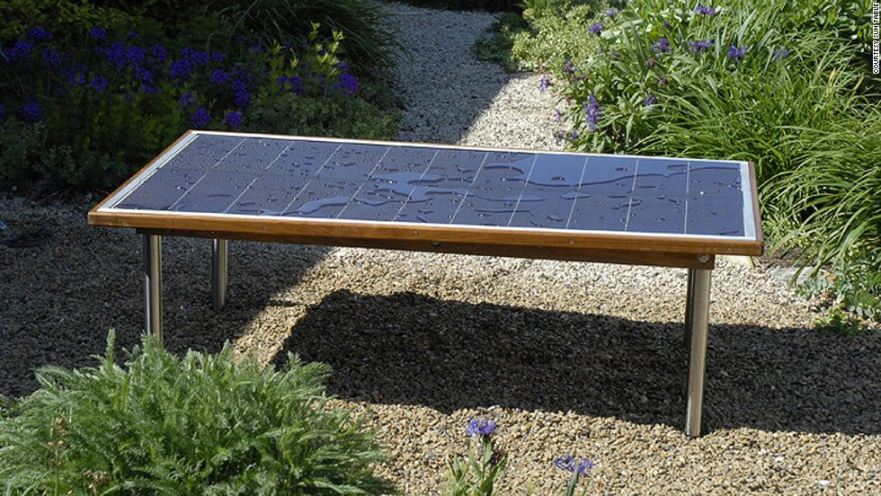 "Place the weather-resistant <a href=""http://suntable.net/"" target=""_blank"">Sun Table</a> in direct sunlight for four hours to reach a full charge. Then move it anywhere you need power - its inverter will juice your laptops, cellphones, lights, etc."