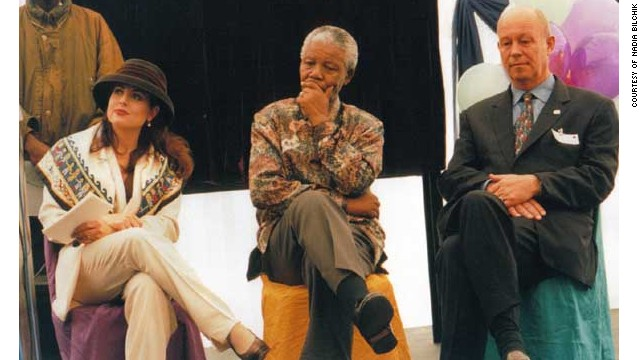 Nadia Bilchik attends an event with Nelson Mandela.