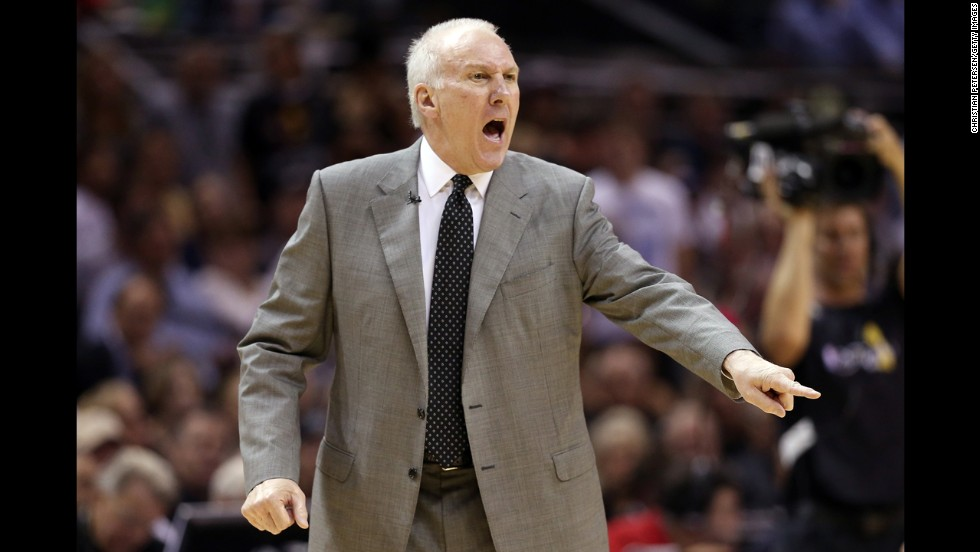 Head coach Gregg Popovich of the San Antonio Spurs reacts during the first quarter.