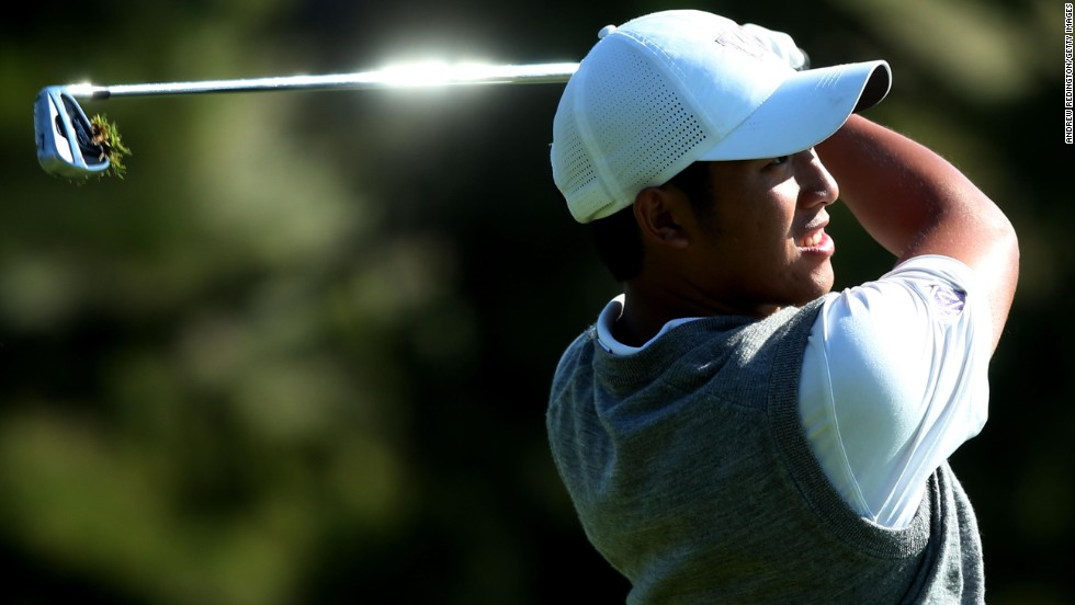 Cheng-Tsung Pan of Chinese Taipei hits his second shot on the 16th hole during a continuation of round two on June 15.