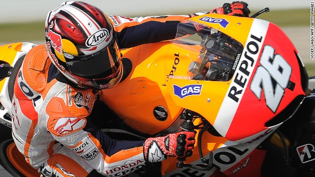 Championship leader Dani Pedrosa recorded the fastest lap ever at Montmelo in Spain.