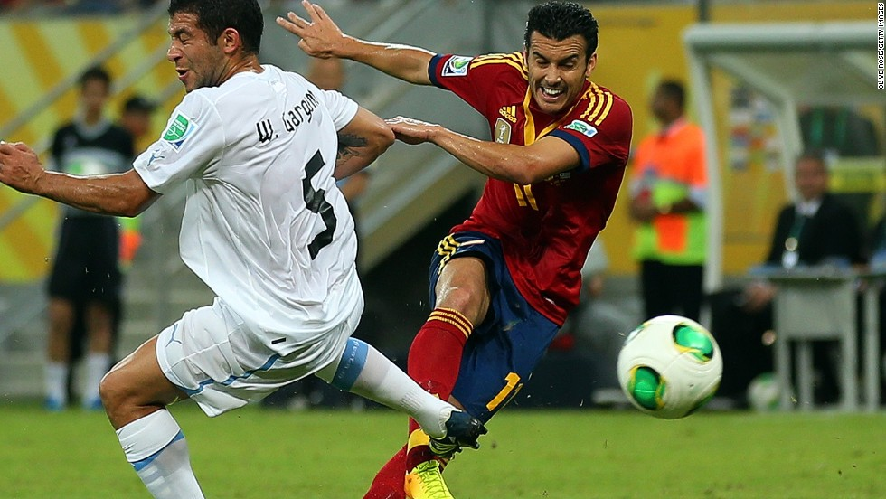 Pedro had put Spain ahead in the 20th minute when his shot took a wicked deflection off Uruguay captain Diego Lugano.