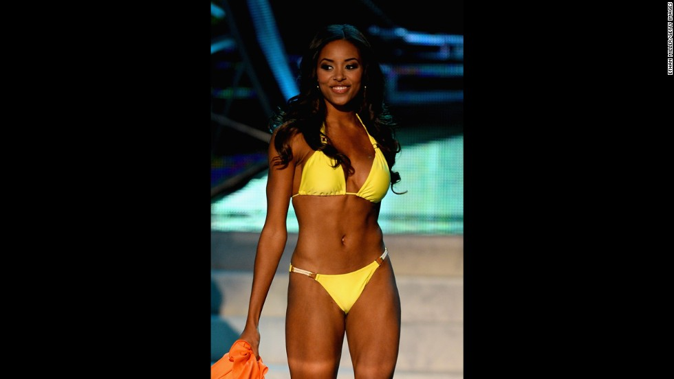 Miss South Carolina Megan Pinckney competes in the swimsuit competition.
