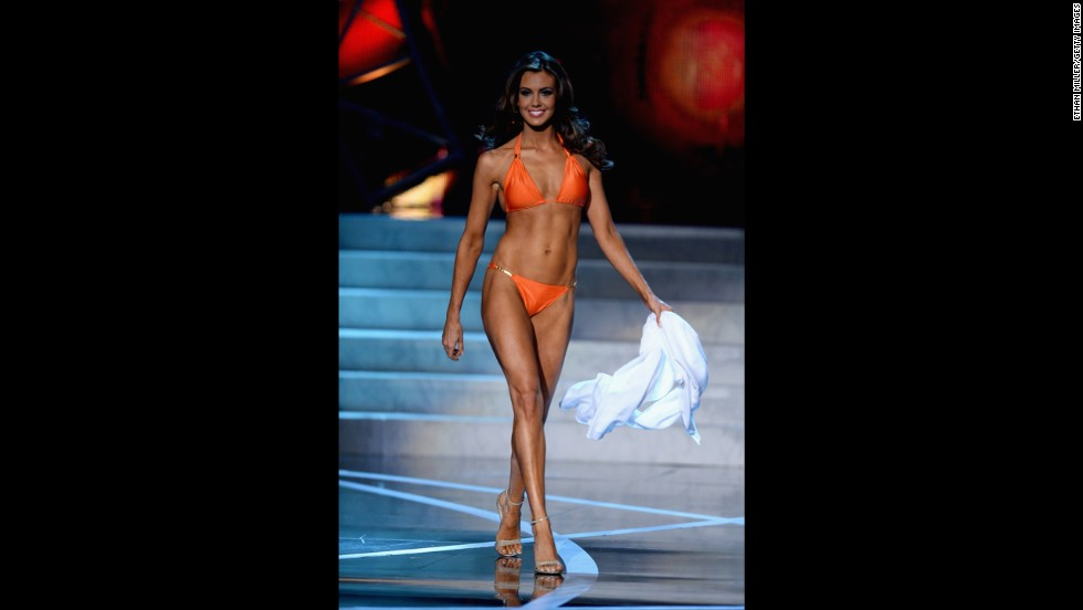 Miss Connecticut Erin Brady competes in the swimsuit competition.