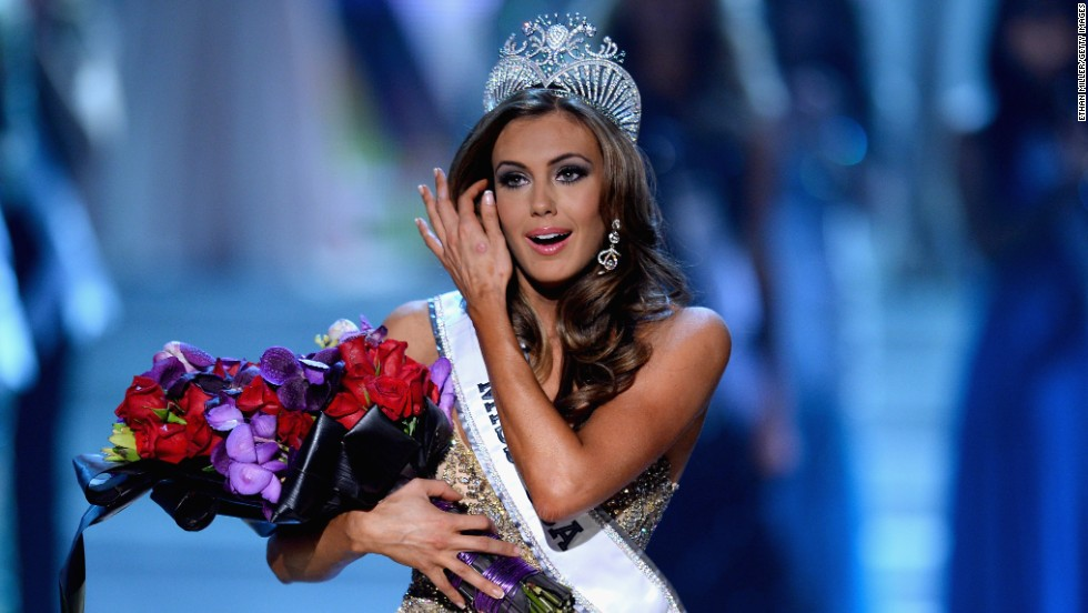 Miss Connecticut Erin Brady reacts after being crowned Miss USA during the 2013 Miss USA pageant on Sunday, June 16,  in Las Vegas.