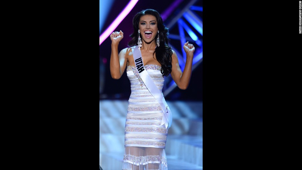 Miss Utah Marissa Powell appears excited during a commercial break.