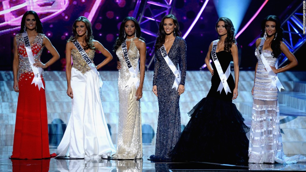 From left, the top six finalists include Miss Texas Ali Nugent, Miss Connecticut Erin Brady, Miss South Carolina Megan Pinckney, Miss Illinois Stacie Juris, Miss Alabama Mary Margaret McCord and Miss Utah Marissa Powell.