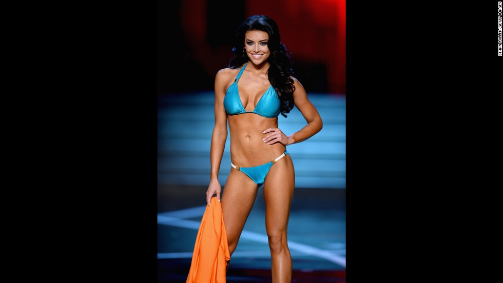 Miss Utah Marissa Powell competes in the swimsuit competition.