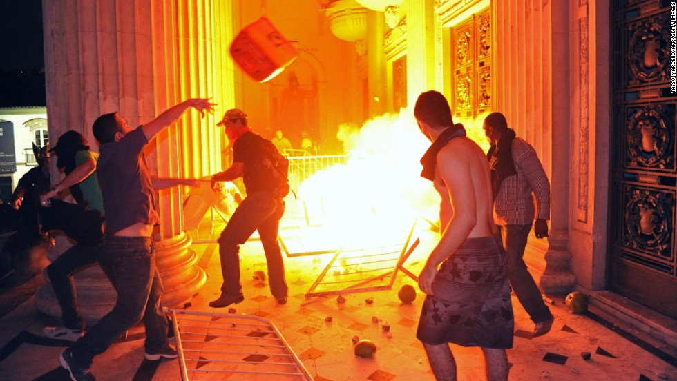 Protesters set a fire outside the Tiradentes Palace in Rio de Janeiro during a protest on June 17.