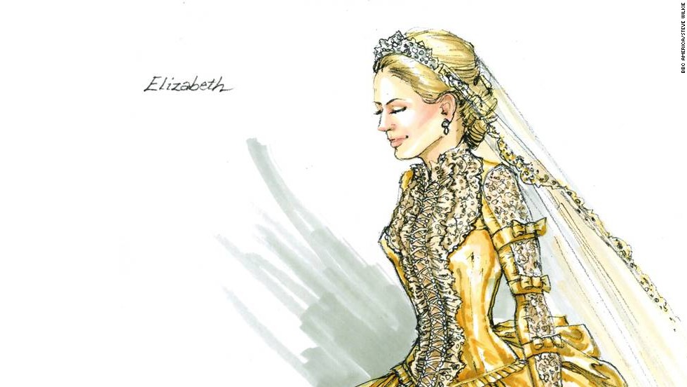 For Anastasia Griffith's character of Elizabeth Haverford, a wedding dress was in order this season. In the 1860s, it was all about the elaborate design and less about the white dress. Besides, Elizabeth has already been married once before, so white wouldn't do.