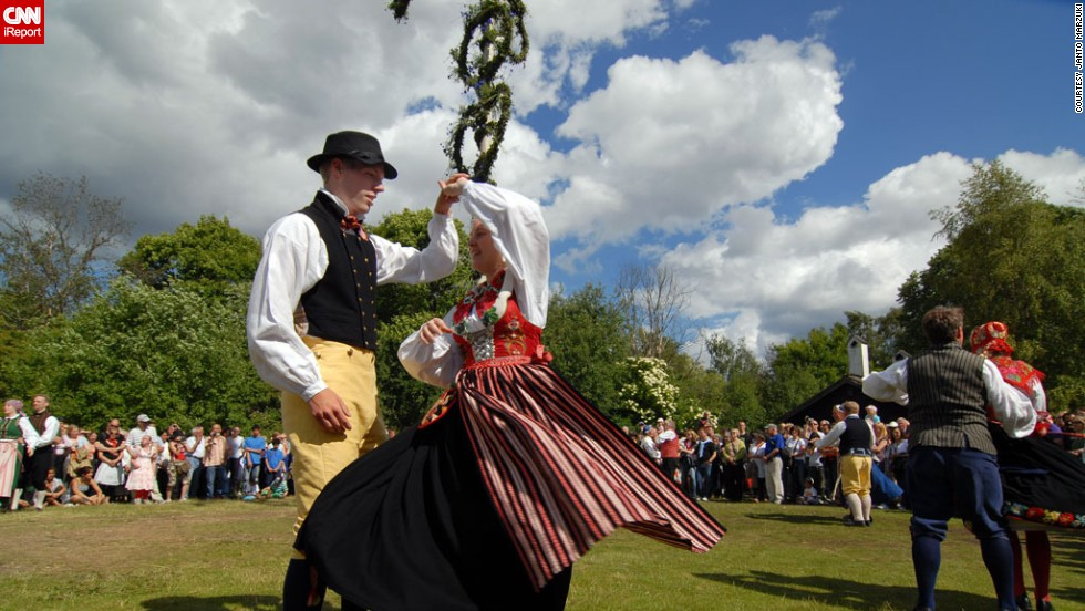"64-year-old <a href=""http://ireport.cnn.com/people/mastok"" target=""_blank"">Janto Marzuki</a> captured these images of a typical Stockholm midsummer celebration in 2008, in the historic open air museum and zoo 'Skansen', where you can relive the days before the industrialization and see people dressed up in Swedish traditional dresses."