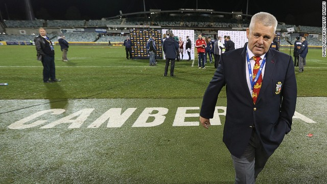 Coach Warren Gatland leaves the pitch after the Lions' first loss on tour, four days ahead of the first Test against Australia