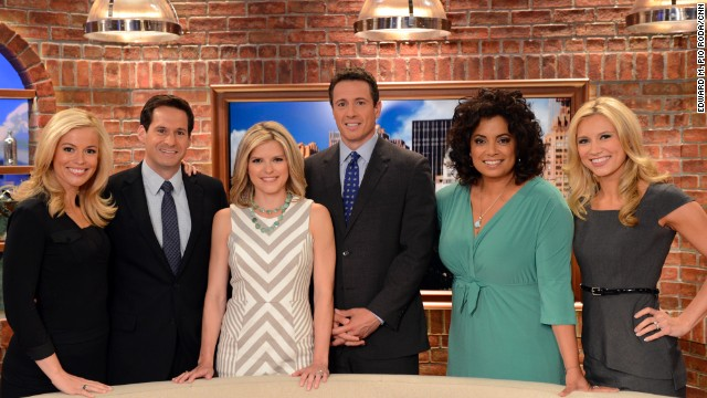 New Day show coverage in New York, New York on June 18th, 2013.  Pamela Brown, John Berman, Kate Bolduan, Chris Cuomo, Michaela Periera and Indra Petersons on set.