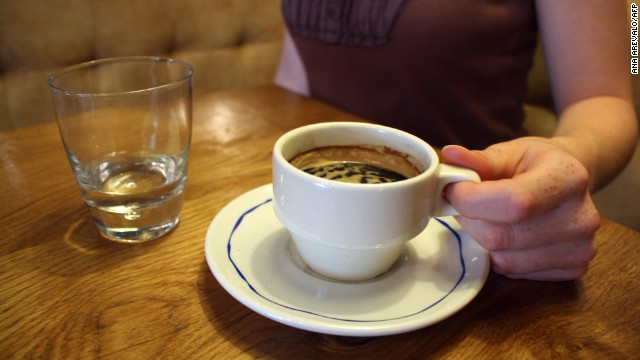 A cup of coffee is pictured on July 5, 2012 in a Paris.