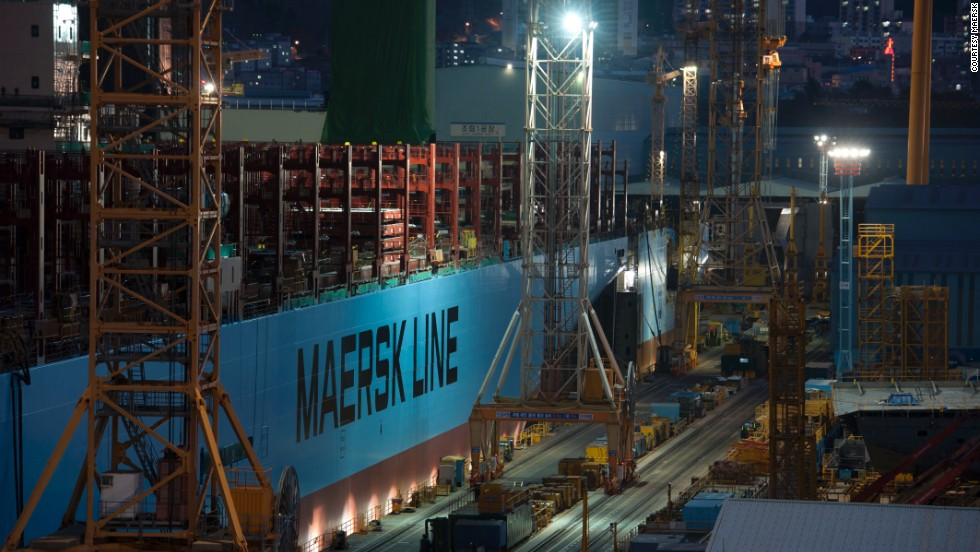 The giant vessel has taken 440 days to build and will have enough space to transport 18,000 TEU containers -- that's enough to move 111 million pairs of sneakers or 182 million iPads in a single voyage.
