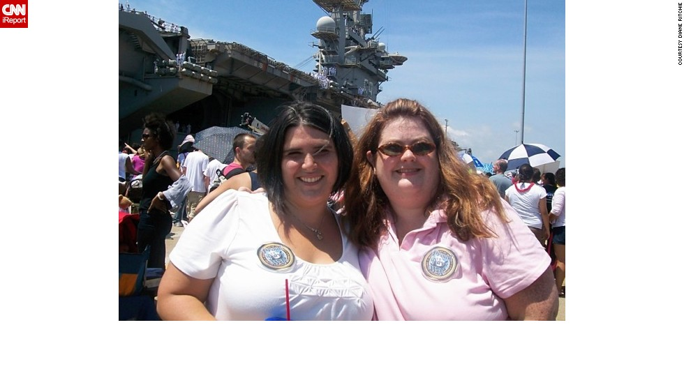 "Navy wives Diane Ritchie, left, and Anne Moyer at the USS Dwight D. Eisenhower homecoming in July 2009. Nealy four years later, Ritchie says the photo ""reminds me how hard it was for Anne and I to walk from the parking lot to the pier."""