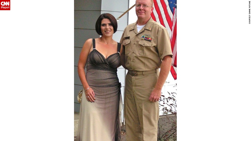 "Ritchie used to agonize over what to wear for military functions with her husband, Mike. But not anymore, as evidenced by this photo in September 2011. ""I could see it in her eyes when she came down the stairs of our house wearing that dress, that she finally realized that all the hard work she had done for the last nine months had paid off,"" Mike says."