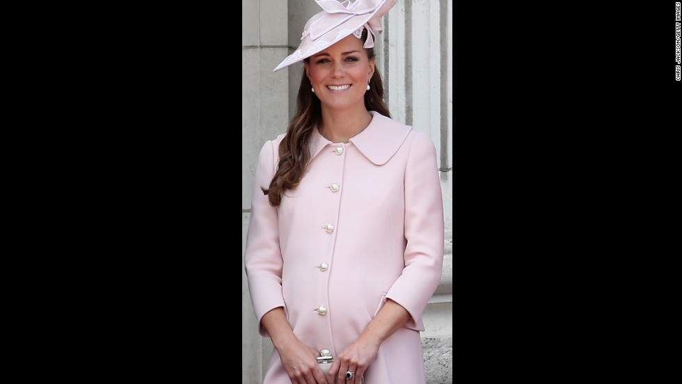 Catherine is photographed on the balcony of Buckingham Palace during the annual Trooping the Color Ceremony on June 15, 2013 in London.
