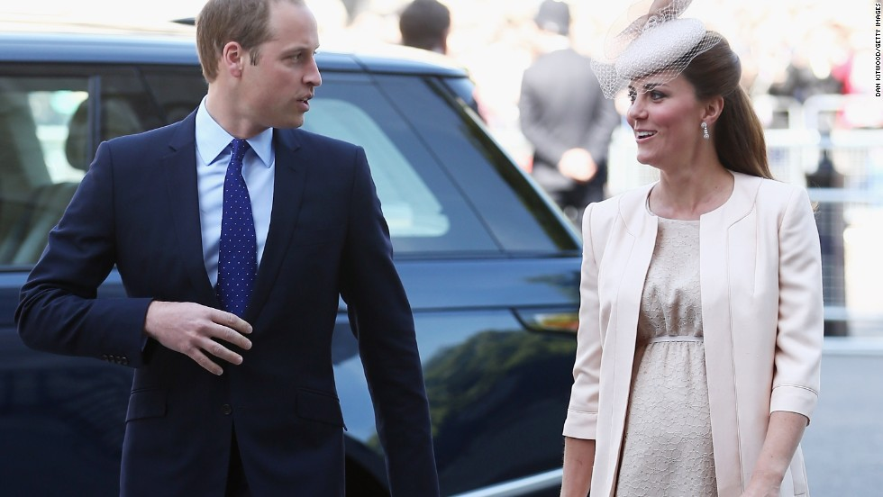 William and Catherine arrive for a service of celebration to mark the 60th anniversary of Queen Elizabeth II's coronation at Westminster Abbey on June 4, 2013.
