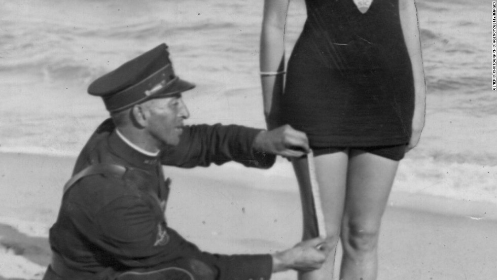 Even if Hollywood starlettes wore outrageous beach attire, other beaches across the country, like this one in West Palm Beach, Florida, were subject to suit regulations introduced by beach censors.