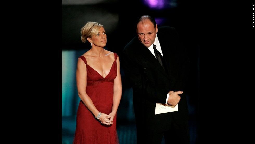 Edie Falco and Gandolfini present the award for outstanding miniseries at the 58th Annual Primetime Emmy Awards in 2006.