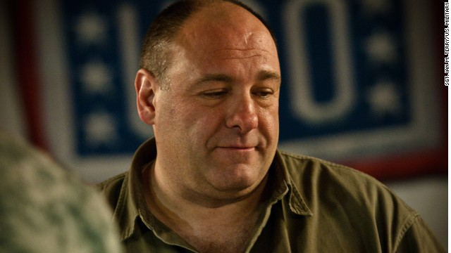 Gandolfini visits with service members and civilians on Kandahar Air Field, Afghanistan, on March 29, 2010 during a USO tour.