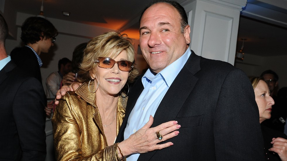"Gandolfini and Jane Fonda attend an after-party for the HBO series ""Newsroom"" in Hollywood on June 20, 2012."