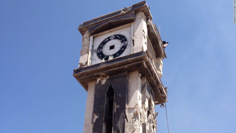 The iconic clock tower in the city's central square was also destroyed.