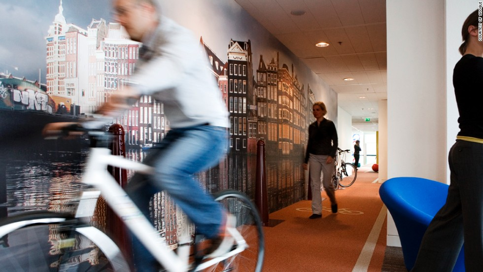 Activity plays a key role at Google, such as this indoor bike line at its Dutch HQ.