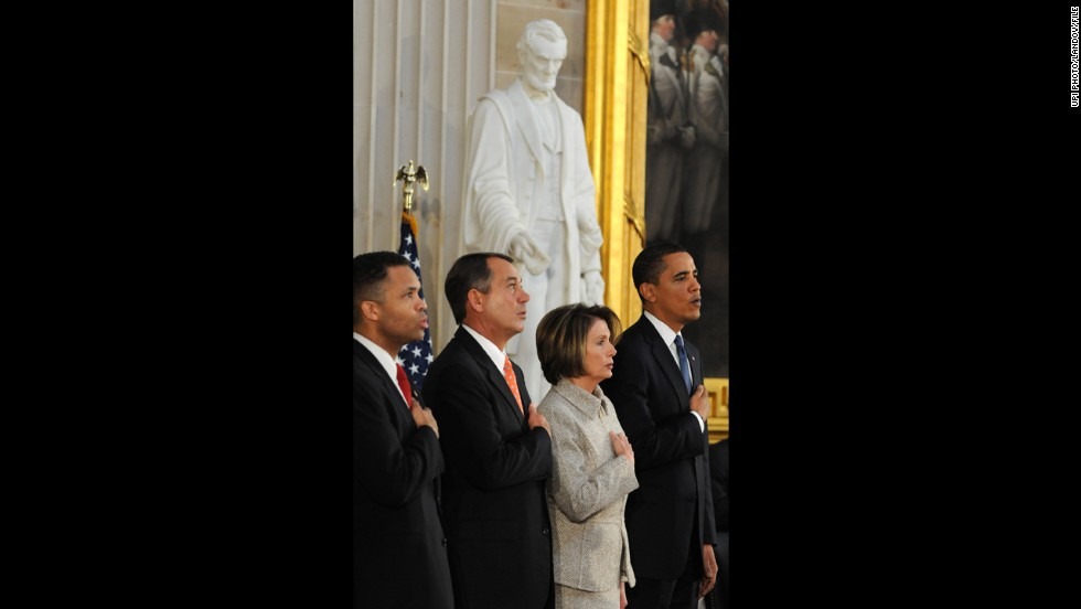 From left, Jackson, John Boehner, Nancy Pelosi and President Barack Obama stand for the national anthem at the U.S. Capitol in February 2009 during the bicentennial celebration of Abraham Lincoln's birth.