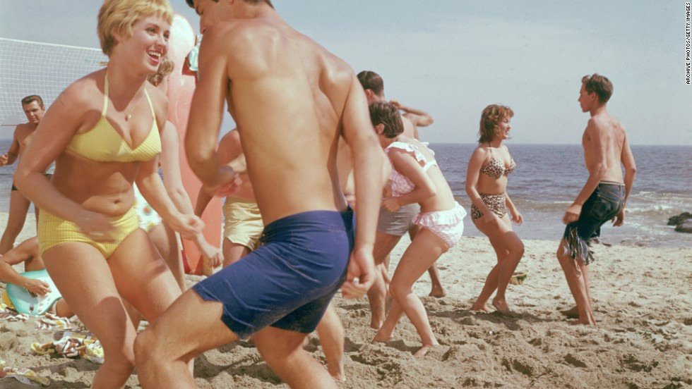 Teeny, weeny, yellow polka-dot bikinis and surfin' trunks capitalized on the California-style rock 'n' roll beach party frivolity of the early 1960s.