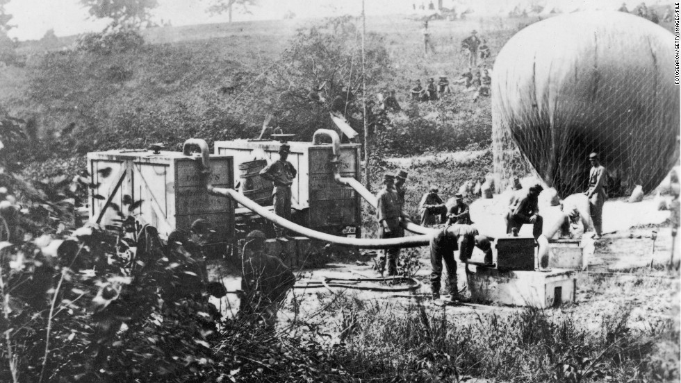 Hydrogen-filled balloons were used for surveillance and reconnaissance during the American Civil War in the 1860s.