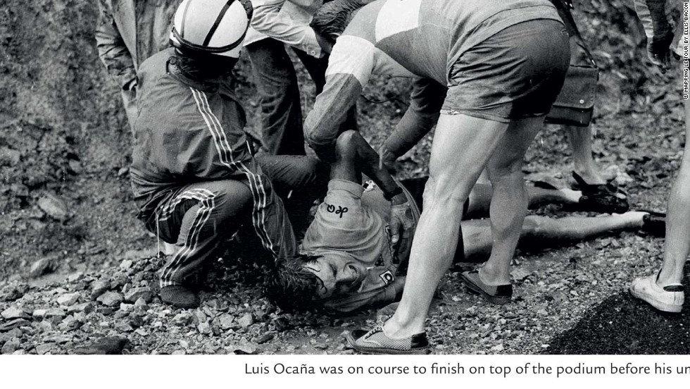 Spanish climber Luis Ocana suffered a sickening crash in the 1971 Tour when leading Merckx. He was forced to retire but won the 1973 race.