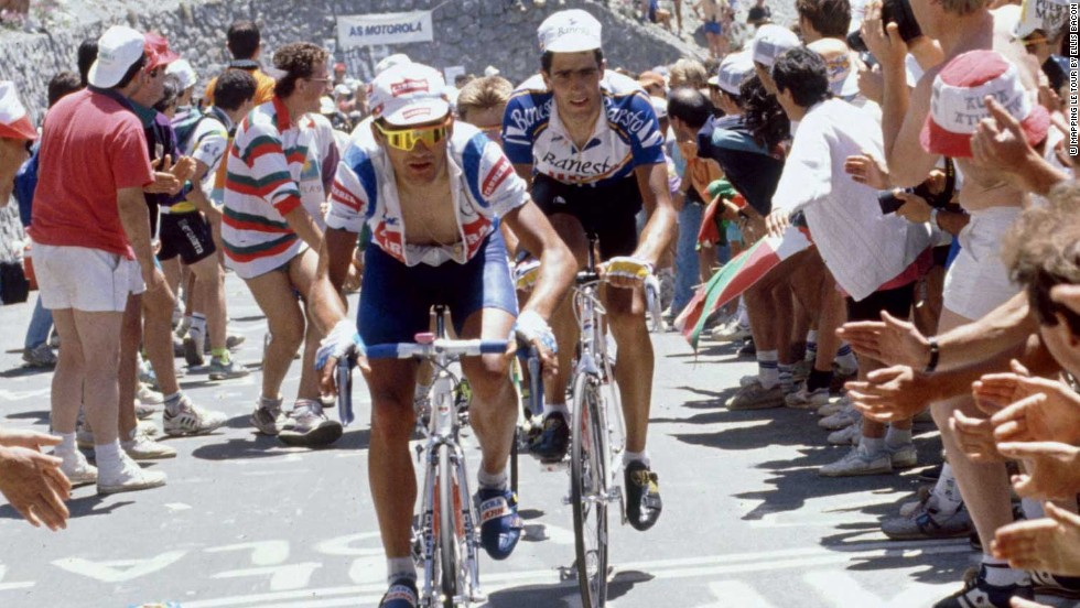 Spain's Miguel Indurain tracks Italian Claudio Chiappucci on a stage in the Pyrenees on the way to the first of five successive Tour wins in 1981 for 'Big Mig'.