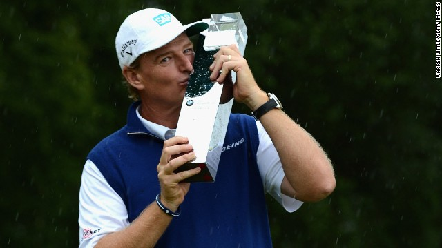 Ernie Els savors his moment of triumph after landing the BMW International Open in Munich.