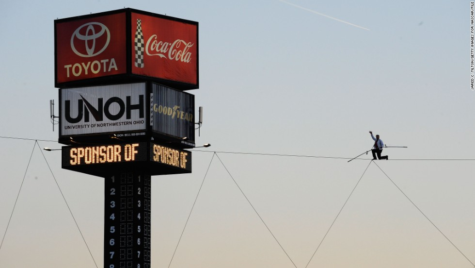 Wallenda performs during prerace ceremonies for the NASCAR Sprint Cup Series: Bank of America 500 at Charlotte Motor Speedway in Concord, North Carolina, in October 2012.