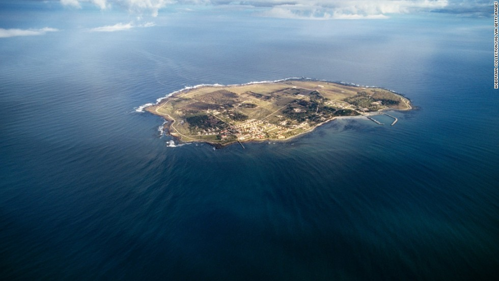 An aerial view shows the entire island, which is approximately 5 square miles (13 square kilometers).