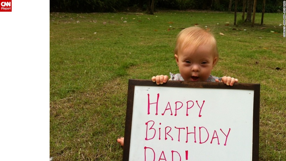 "Marley wishes her father a happy birthday. <a href=""http://www.ndss.org/Down-Syndrome/What-Is-Down-Syndrome/"" target=""_blank"">Down syndrome</a> occurs when a person has a full or partial extra copy of chromosome 21, which in turn alters the way their body develops."