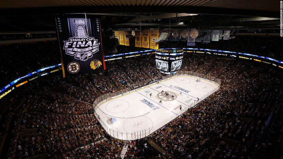 Fans pack the TD Garden arena in Boston.