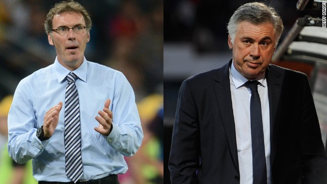 Laurent Blanc (right) has replaced Real Madrid-bound Carlo Ancelotti (left) as Paris Saint-Germain coach.