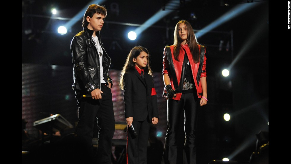 "Prince, Blanket and Paris once again honor their father's fashion and legacy at the ""Michael Forever Tribute Concert"" in Wales in 2011."