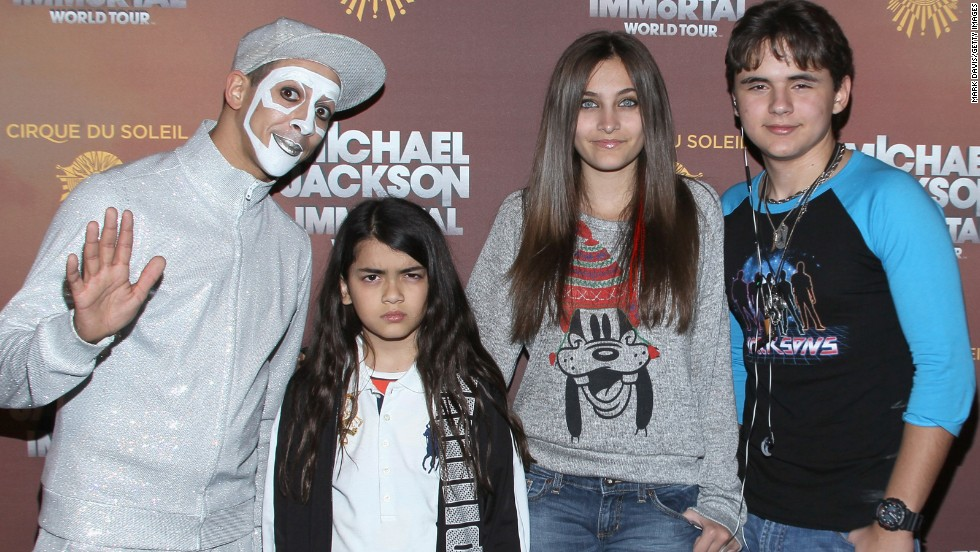 "Blanket, Paris and Prince at the Los Angeles premiere of Michael Jackson ""The Immortal"" tour in 2012."
