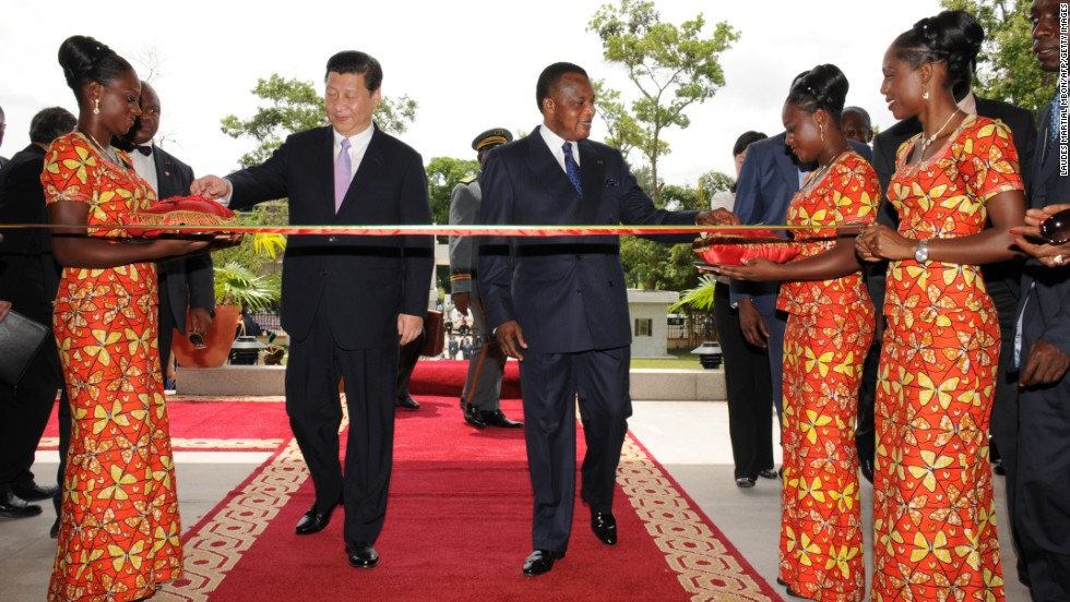 Chinese President Xi Jinping included Africa in his first foreign tour as head of state, in March 2013.<br />Pictured, Xi and Republic of the Congo's President Denis Sassou Nguesso at the inauguration ceremony of the Chinese-built library at the University Marien Ngouabi in Brazzaville on March 30, 2013.