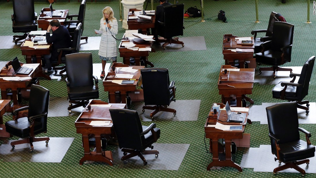 It took not one but two special leglative sessions for the measure to pass; the first attempt was blocked following a lengthy filibuster by sneaker-wearing Sen. Wendy Davis in a near empty Senate chamber.
