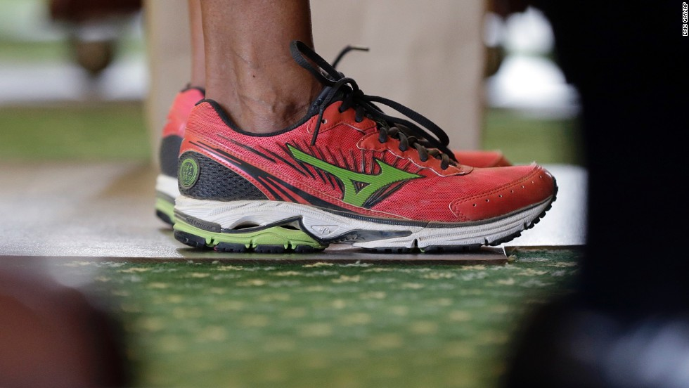 "Texas state Sen. Wendy Davis wears running shoes in place of her dress shoes during her<a href=""http://www.cnn.com/2013/06/26/politics/wendy-davis-profile/index.html"" target=""_blank""> one-woman filibuster</a> in an effort to kill an abortion bill on Tuesday, June 25, in Austin, Texas. The shoes became a symbol of the <a href=""http://www.cnn.com/2013/06/26/tech/social-media/texas-filibuster-twitter/index.html"">#standwithwendy</a> movement."